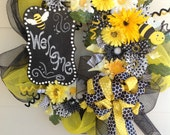 Private Listing for Nicole.....adorable spring summer bumble bee wreath with hand made chalk board.