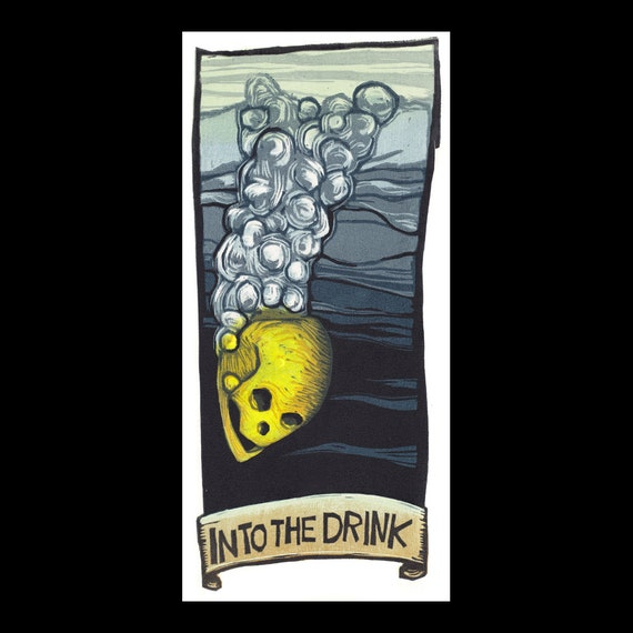 Into The Drink woodcut print