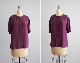 1980s vintage eggplant purple silk blouse