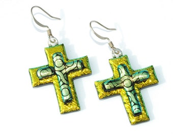 Cross Earrings, Dichroic Fused Glass, Fused Glass Jewelry, Dichroic Earrings, Glass Jewelry, Gold, Yellow, Glitter (Item 30001-E)
