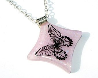 Butterfly Pendant, Fused Glass Jewelry, Dichroic Pendant, Light Pink Pastel, Spring (Item 10006-P)