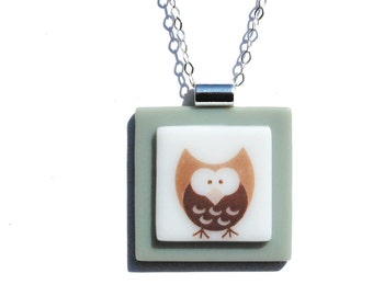Simply Whimsical Fused Glass Pendant - Owl, Woodland, Nature, Outdoors, Kawaii - Sepia, Light Green, White (Item 10558-P)