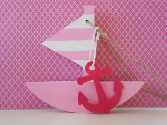 Sophisticated Modern Nautical Nursery: Modern Nautical Nursery For Girls Pink By TheSeasideKids