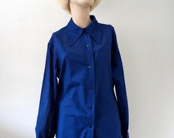 1970s Sheer Blouse / Navy Blue Pinstripe Shirt / designer vintage