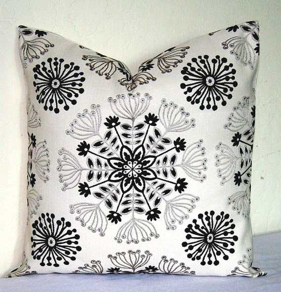 Black White And Gray Throw Pillows : White Gray and Black Decorative Pillow Cover 18 inch by PatsTable