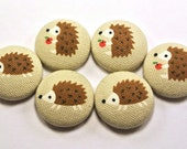 Hedgehog  Magnet / Thumbtack / Home Office Fabric Buttons  / Flat Buttons On Tan Japanese Fabric / Craft Button / Fridge Magnets/ Kawaii 17