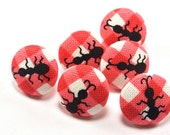 Tiny Ants / Fabric Buttons / Pushpins / Summer Picnic / Fabric Covered Button /  Flat / Red Gingham Little Magnet / Insect / Little