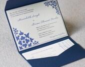 Navy pocketfold invitation, flower invitation, blue and white, pocketfold invitation, custom colors, custom sample