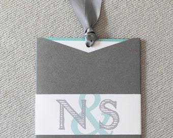 Grey and aqua wedding invitation, turquoise and gray, charcoal invitation,  jacket invitation, custom colors, custom sample
