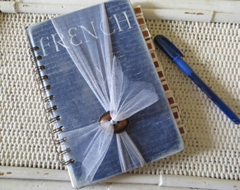 Upcycled Vintage Blue French Book Address Book