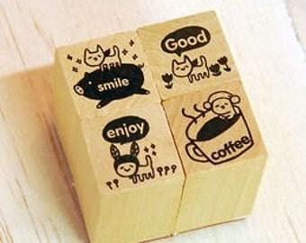 4 Pcs Korea DIY Wood  Rubber Stamp -Vroom Deco Stamps 01