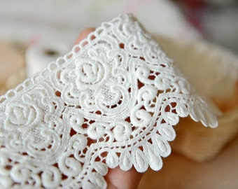 Lace Fabric Trim 1Yards  White Embroidery Lace Gauze 10cm wide
