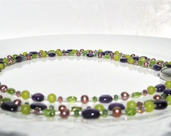 """Nature Jewelry Necklace, Abalone Shell Clasp, Amethyst, Peridot, Jade, Freshwater Pearls,""""There Was  A Spring In Her Step"""""""