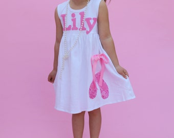 Ballet Shoes Dress - Dance Dress- Personalized Dress- You Choose Dress Color and Sleeve Length
