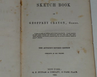 Washington Irving, Sketch Book, of Geoffrey Crayon, Gent 1855, Antique Books, Fiction Books, Old Books,