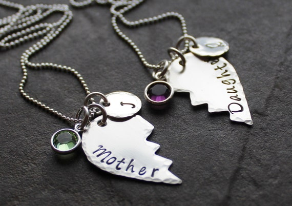 Personalized Mother Daughter Necklace Set By