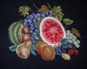 Needlepoint Still Life Fruit Watermelon Autumn Leaves Harvest FREE SHIPPING to USA