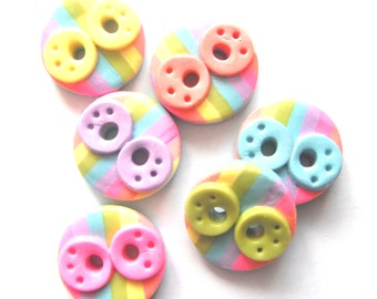 Button Rainbow Doodles handmade polymer clay buttons ( 6 )