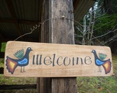 Hand Painted Welcome Sign - Folk Art Birds - Rustic Recycled Wood - Primitive Wall Art