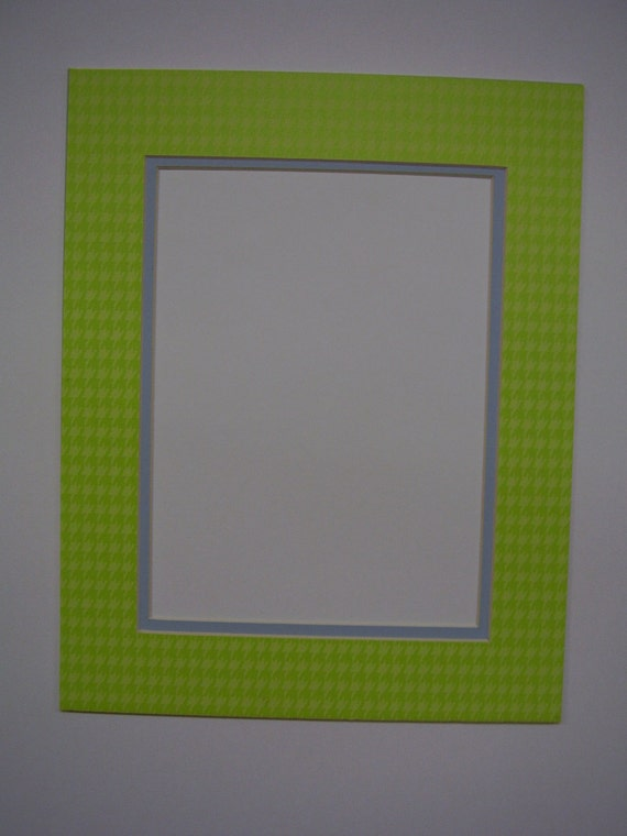 Picture Frame Mat Houndstooth Check Green With Baby Blue