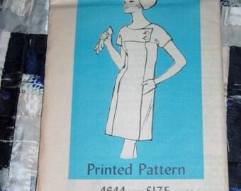 Vintage 1960s Mail Order Designer Pattern 4644 for Misses Dress Sizes 14 1/2, Factory Folds