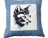 Cat applique corduroy cushion