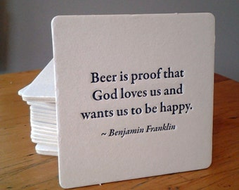 BEER is proof Quote Coasters, (Letterpress printed, 3.5 inches) set of 8, perfect gift for home brewer or beer lover