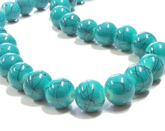 15 Turquoise Glass Beads with Black Veins 12mm - BD180