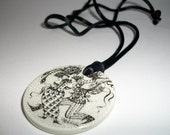 Bjorn Wiinblad Signature Nymolle Mini Plaque Disc Necklace Pendant
