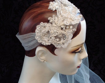 Flapper Inspired Bridal Headpiece, Art Deco Style, Flapper Headband, 1920s Style, Retro Weddings, Bridal Accessories