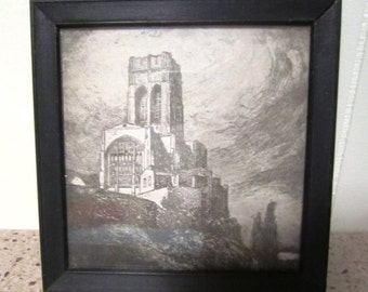 Vintage petite black and white framed print architectural