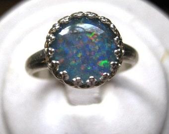 Genuine Opal Triplet Ring Sterling Silver bezel set handmade size 4 5 6 7 8 9 10 11 blue green red fine jewelry 10mm round