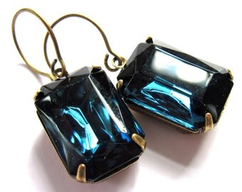 Indigo Blue Glass Claw Set Evening Earrings Fashion Jewelry