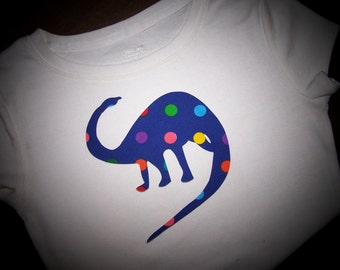 Dinosaur Iron on Applique with Rainbow Spots or Stripes - Great for T Shirts to Curtains