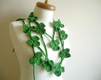 St. Patricks Day  Clover and Shamrocks, Emerald Green  Long Scarf With Clovers,  Ready to Ship