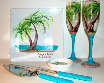 Palm Trees Beach Wedding Ocean Beach Set Hand Painted Set 2 Champagne Flutes Plate Cake Knife & Server Ring Holder Personalized Aqua
