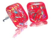 Fluorescent Pink Neon Nail Polish Earrings, Hot Pink Studs, Holographic Glitter, Square Ear Jewelry JEM