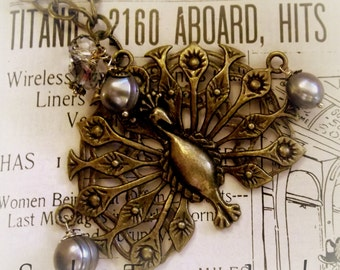Art Deco Majestic Brass Peacock, with Silver Pearls