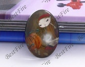 2pcs of the 18x25mm Oval Glass Cabochons Cartoon Leer girl, jewelry Cabochons finding beads,Glass Cabochons, Leer girl--23