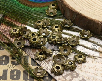 50 pcs of Antique Brass metal flower bead cups 8mm,extrude beadcap findings beads