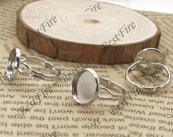 10 pcs 12mm Platinum tone Pad Open Adjustable RING Base,Ring base beads,jewelry findings