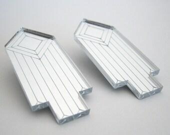 Arrow Jewel Mirror Statement Earrings - Laser Cut Silver Acrylic Perspex