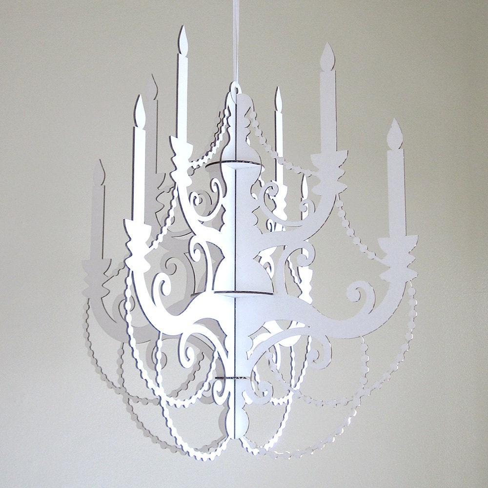 White Classic Chandelier Cardboard Chandelier By Fabparlor