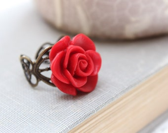 Red Rose Ring, Flower Cocktail Ring, Antique Brass, Deep Crimson Red, Adjustable Filigree Ring, Statement, Spring, Romantic Floral Jewellery