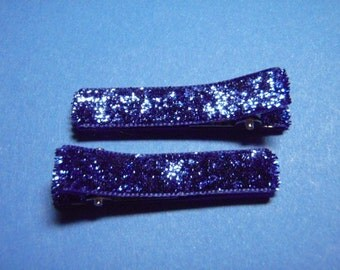 Royal Blue Glitter Hair Clips - Set of 2  - For Infant Toddler Girl Teen Adult...Perfect For The Holidays