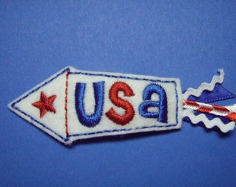 4th of July Felt Hair Clip - USA Firecracker - Right Side Snap Clip - Clippie - For Infant Toddler Girl