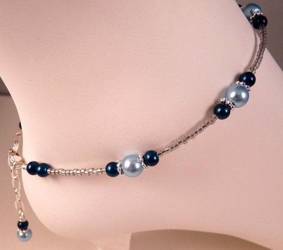 pearl anklet ankle bracelet blue pearl anklet beaded anklet
