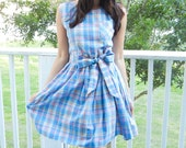 1980's Pastel Plaid Cotton Day Dress with matching waist tie
