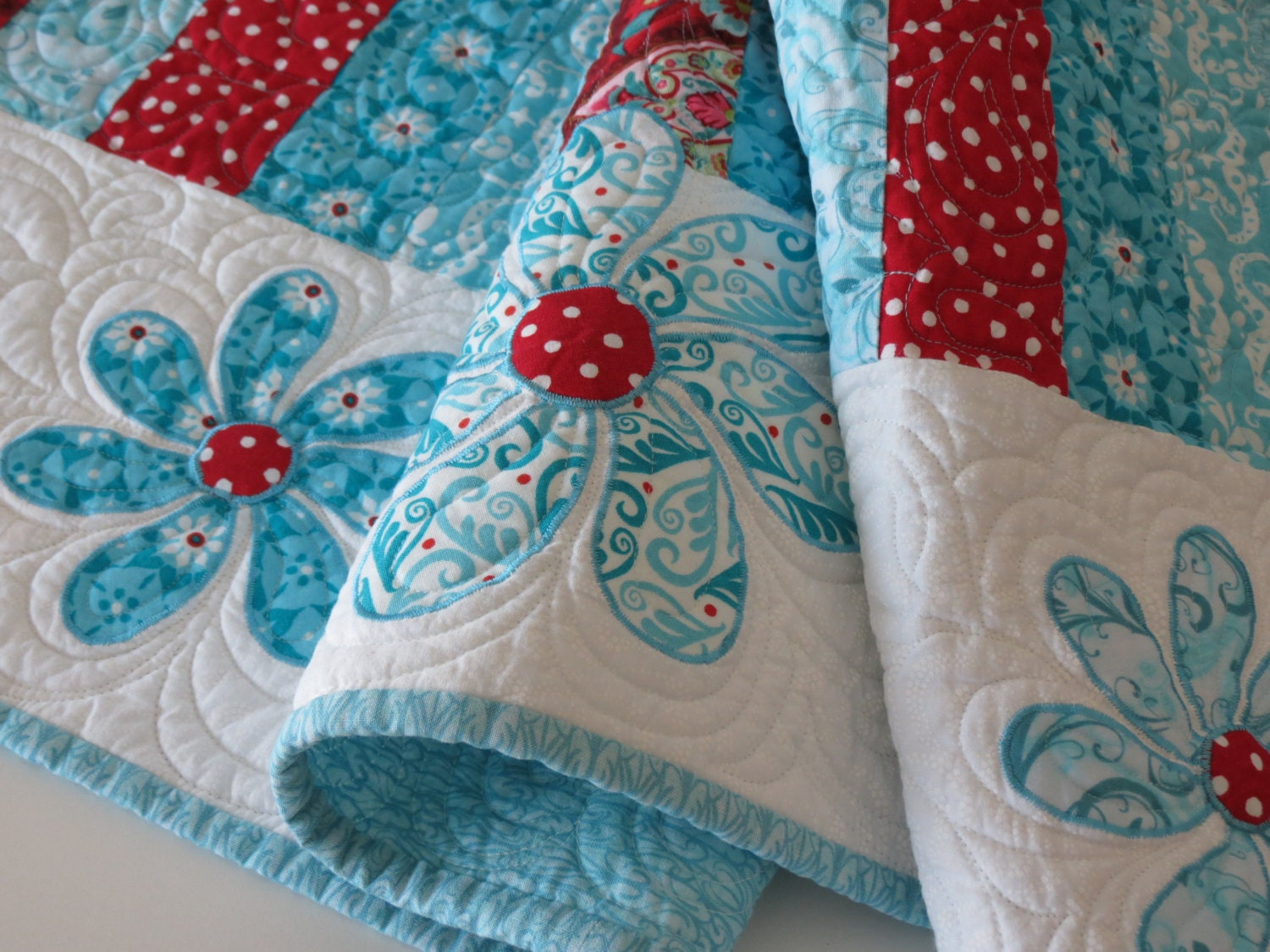 Turquoise And Red Quilted Table Runner With Appliqued Flowers