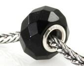 Black Onyx Slider Big Hole Bead Silver Core X0256